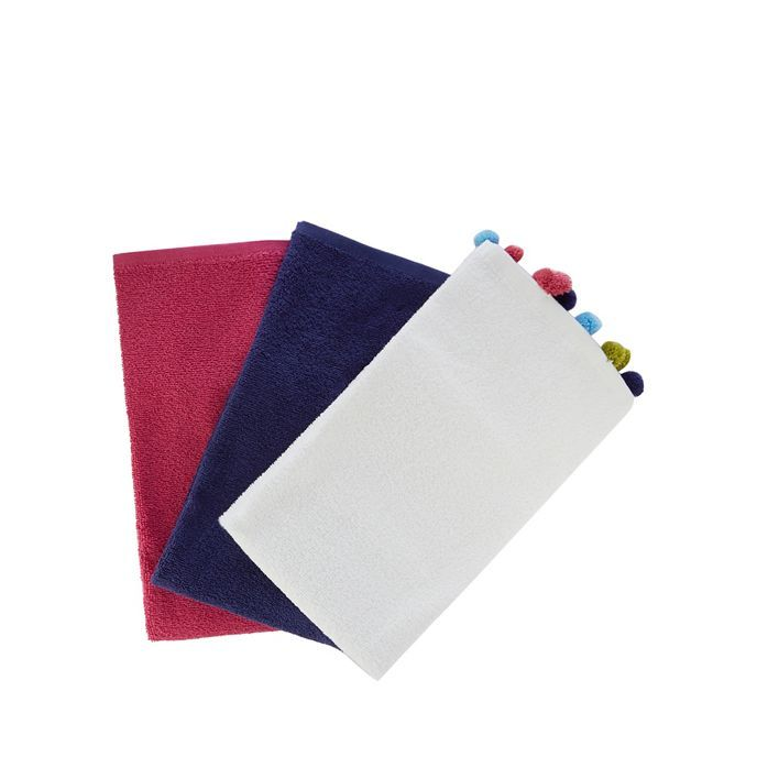 These towels from At home by Ashley Thomas will make a colourful update to the bathroom. Made from pure cotton, they come in three different colours with one featuring a fun pom-pom trim.