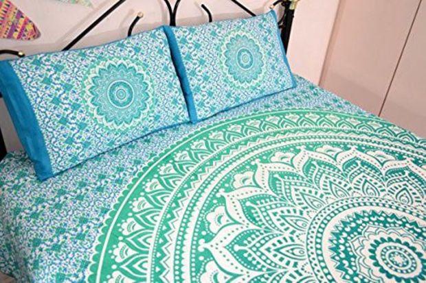 Wall Art – Green Flower Tapestry Mandala Boho Bohemian – a unique product by IndianCraftPalace on DaWanda