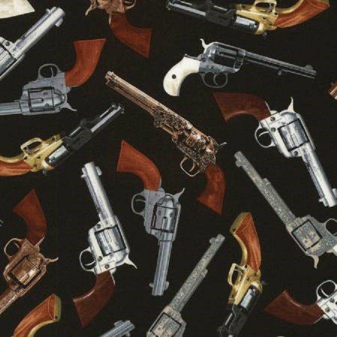 Vintage Wild Wild West Pistols Guns Black Background Cotton Quilting Fabric 1 2 Yard Jrs Fabrics Cotton Quilting Fabric Black Backgrounds Wild West