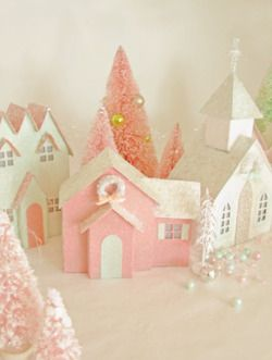 DIY Cereal BoxVintage Glitter House Village with Pink Bottle Brush Trees. Lots of links to sites with templates and a link of how to bleach and dye bottle brushes any color you want. Tutorial and links at A Field Journal here.