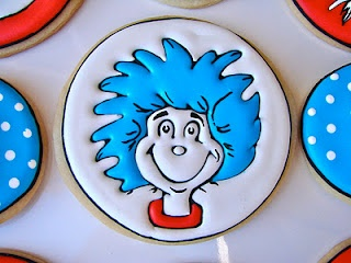 Dr. Seuss party cookies Thing One