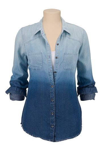 Ombre Button Down Denim Shirt (original price, $34) available at #Maurices