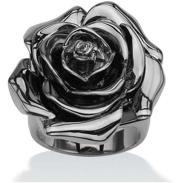 Black Rhodium-Plated Rose-Shaped Electroform Flower Ring (51 CAD) ❤ liked on Polyvore featuring jewelry, rings, black, black rhodium jewelry, rose jewellery, black rhodium rings, bauble jewelry and rose ring
