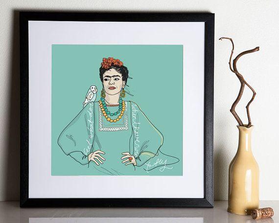 "Frida Kahlo Print 12x12"" on Etsy. By Christina Heitmann #feminism #feminist #quote #quotes #icon #portrait #feministicon #cool #FridaKahlo #Kahlo"