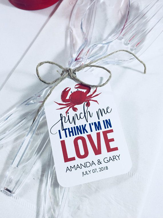 Crab Wedding Favor Tags Crab Boil Rehearsal Dinner Hang