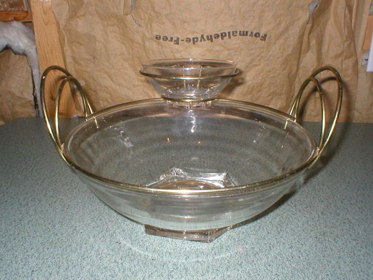"""Vintage Mid-Century Modern Clear Glass & Brass Chip and Dip Serving Bowl, Hexagon 