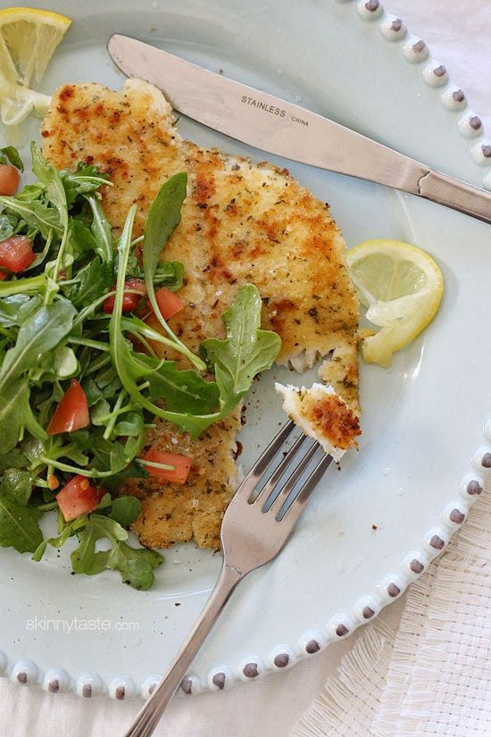 Flounder Milanese with Arugula and Tomatoes - Skinnytaste.com