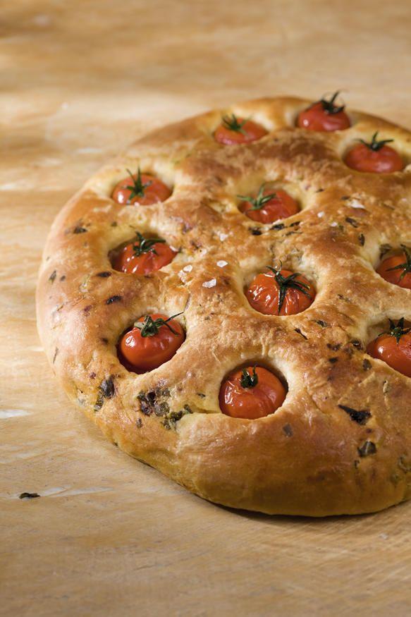 Focaccia aux tomates cerises et au basilic au Kitchenaid