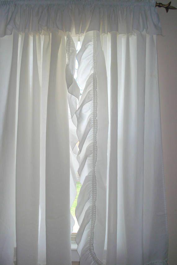 One Pair Shabby Chic White Ruffled Priscilla Curtains 51