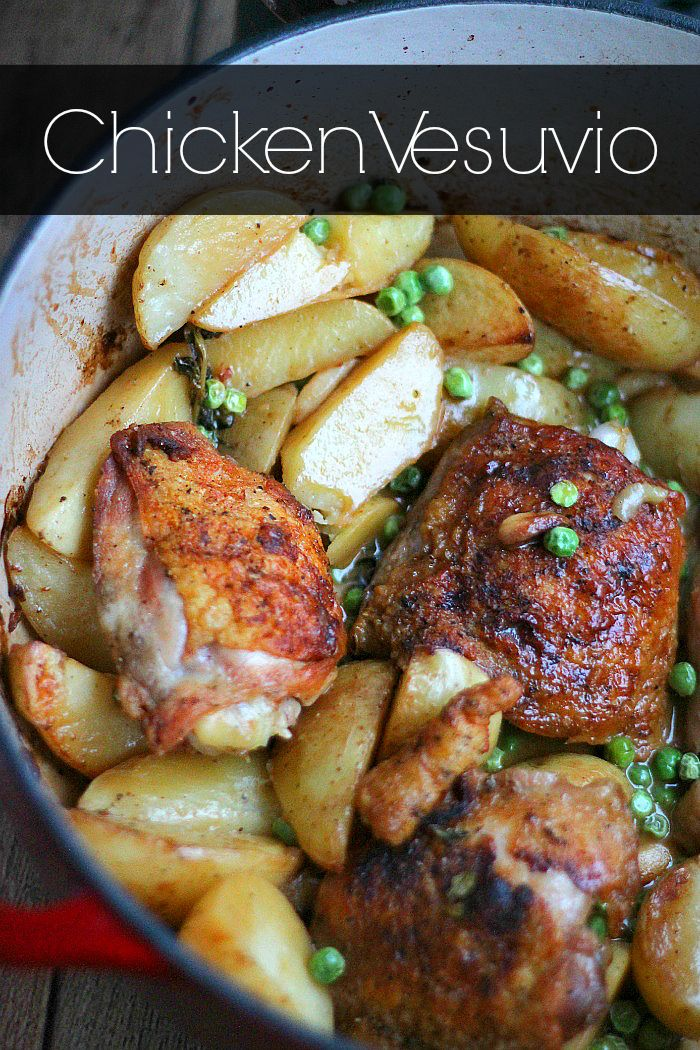 A succulent and garlicky one pan roasted chicken dish with white wine, fresh herbs and sinfully delicious potatoes to mop up the sauce with!