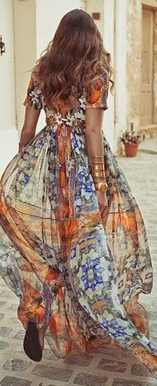 Dolce and Gabbana ~ Spring Multi color Silk Maxi Dress