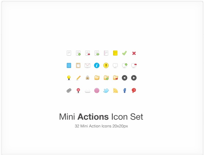 mini actions icon set