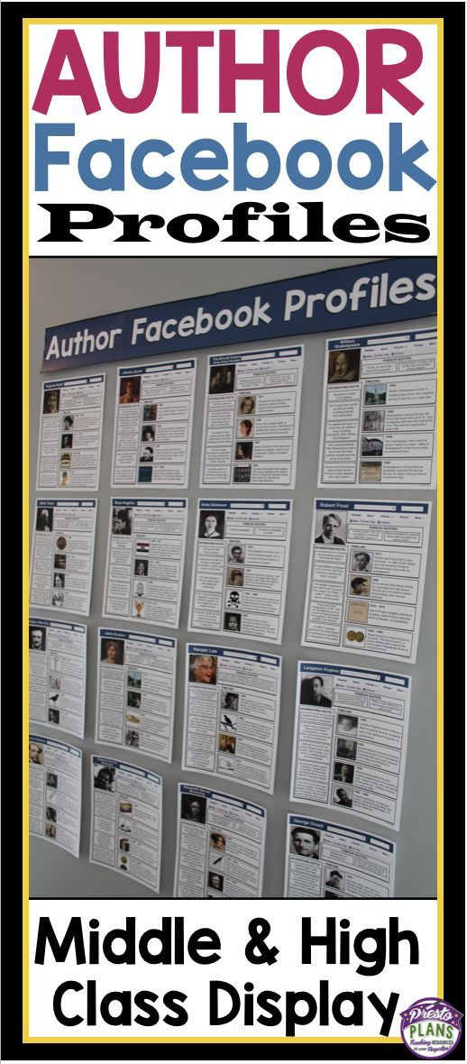 Impress your students with this ready-to-post bulletin board display of Facebook profiles belonging to the most famous English authors of all time. (Presto Plans):