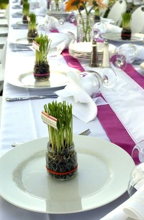 Garden Party Bunch - LOVe the wheat grass placecards