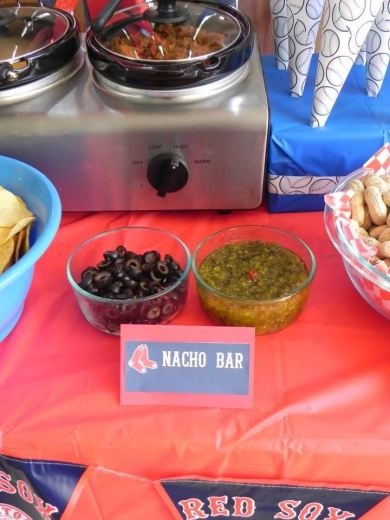 Boston Red Sox Baseball Themed Birthday Party - food table - NACHO BAR