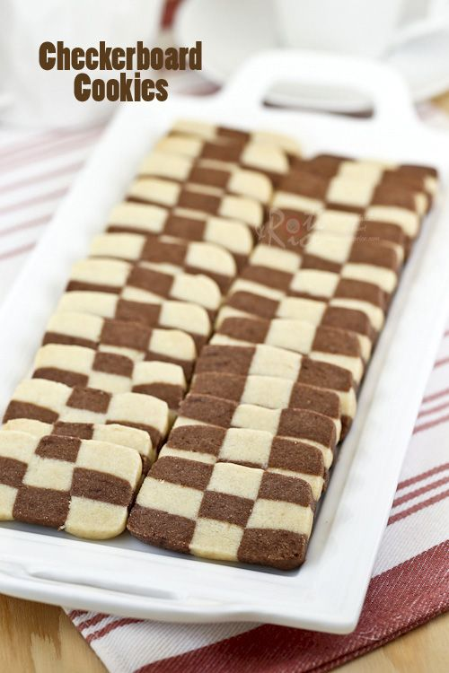 These eggless vanilla and chocolate flavored Checkerboard Cookies are light and buttery. They are perfect for tea time or special occasions. #cookies #checkerboard #chocolate #vanilla