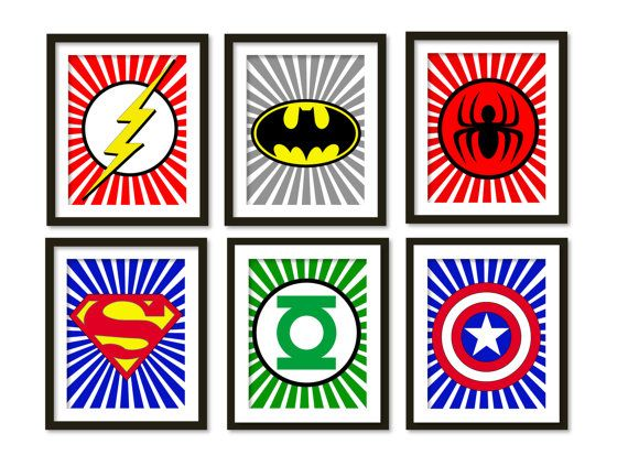 Super hero art kids wall art boys room decor by babiesartroom, $85.00