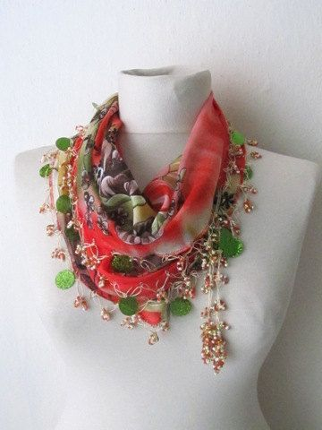 Traditional Turkish Oya  Scarf...Red,authentic, romantic,elegant, fashion,weddings,bridal,vintage,