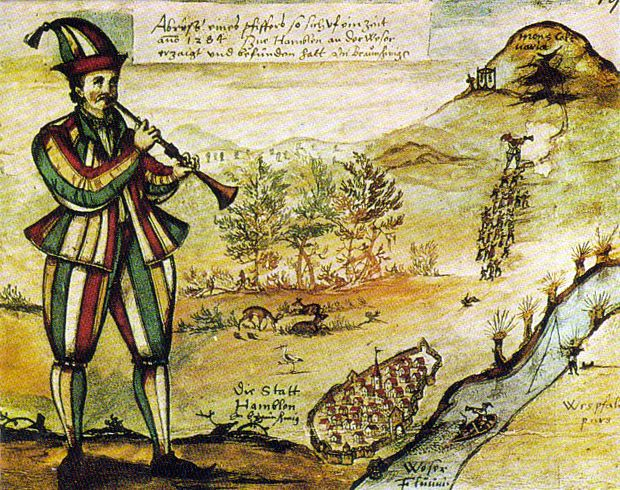 1592 Replica drawing of the Pied Piper stain glass window of Hamelin Church where it is said that the original pipe piper story originated from.  Unfortunately the stained glass window is no longer around it was destroyed back in 1660