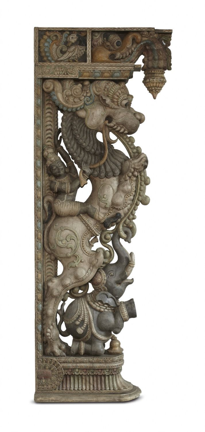 #yaali or #vyala is a composite being that has the body of a lion and features of other animals such as elephants, crocodiles, snakes, and horses. The yaali embodies the characteristics of each of these animals – The yaali is usually represented as a ferocious. These are usually found on pillars of temples. This particular yaali would have either been a bracket figure or a processional figure, alongside the utsavamurti of the deity.#TamilNadu, #19thCentury