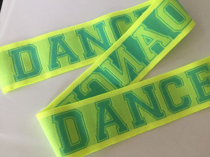 2 inch wide neon elastic webbing, jaquard webbing, plush elastic, dance dance dance by NoaElastics on Etsy
