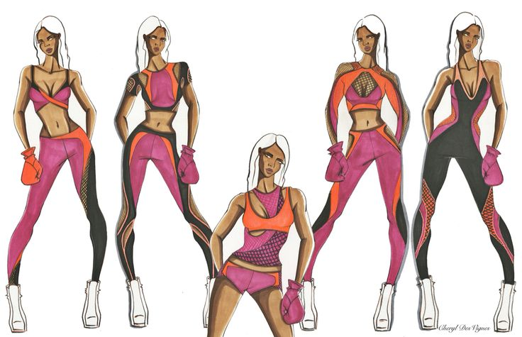 Women's activewear illustration by Cheryl DesVignes for apparel brand MICHI   women's activewear jackets
