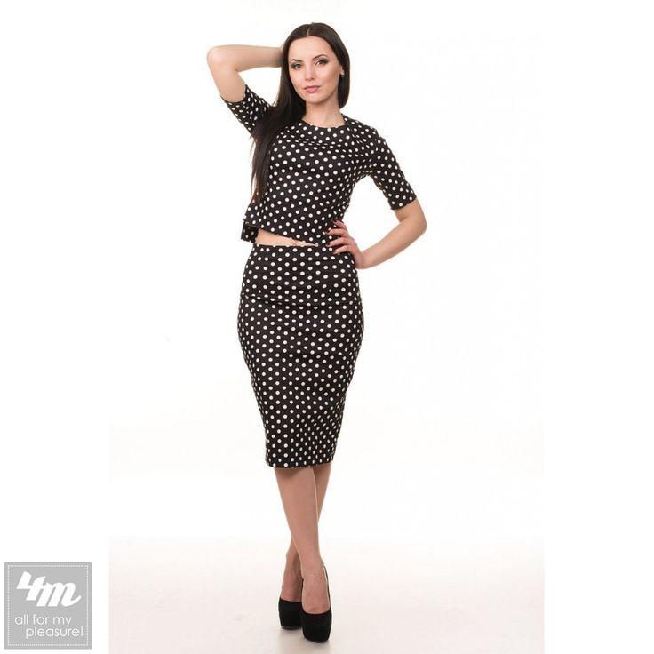Костюм с юбкой Tales «Beatris_2» (Черный) http://lnk.al/4KBm  Модный женский костюм-двойка, состоящий из очаровательного топа с рукавами 3/4 и юбки завышенной посадки. Материал изделия - 100% хлопок принтованный узором в горошек. Топ изделия имеет молнию для удобства одевания.  #костюм #костюмы #костюмчик #женскийкостюм #женскийкостюмкупить #костюмженский #костюмчики #костюмкиев #топ #новинки #одежда #наряд #одеждаУкраина #4m #4mcomua