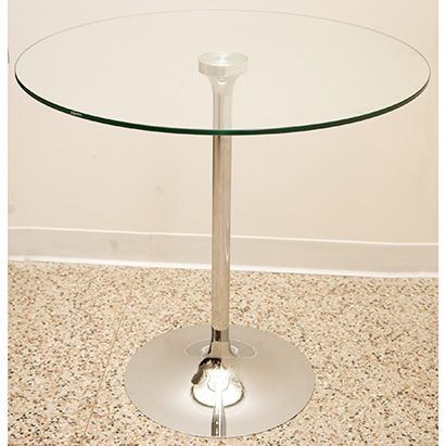 Simple Accent Table Featuring A 31 Inch Round Glass Top. Comes On A Sleek