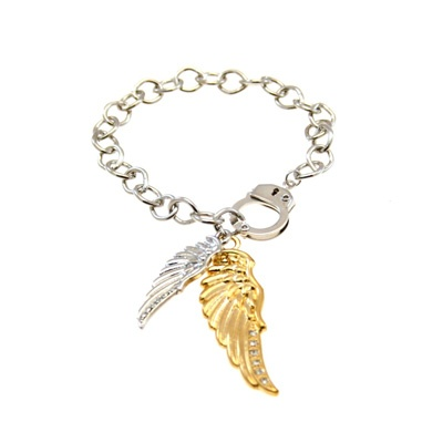 Cute gold and silver bracelet with angel wings