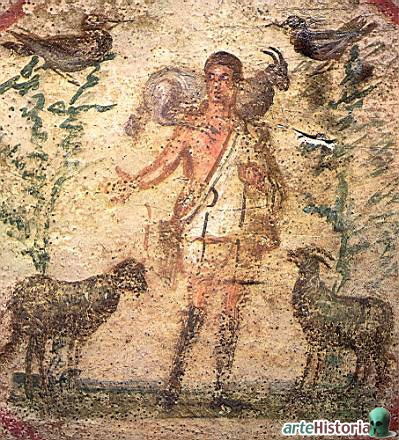 Arte Paleocristiano, siglo III, Catacumbas de Priscila (Roma).