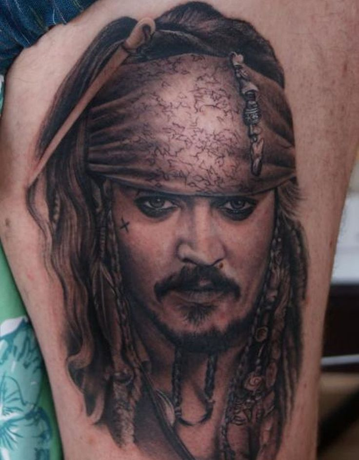 Movie Inspired Tattoos - Johnny Depp / Jack Sparrow in Pirates of the Caribbean