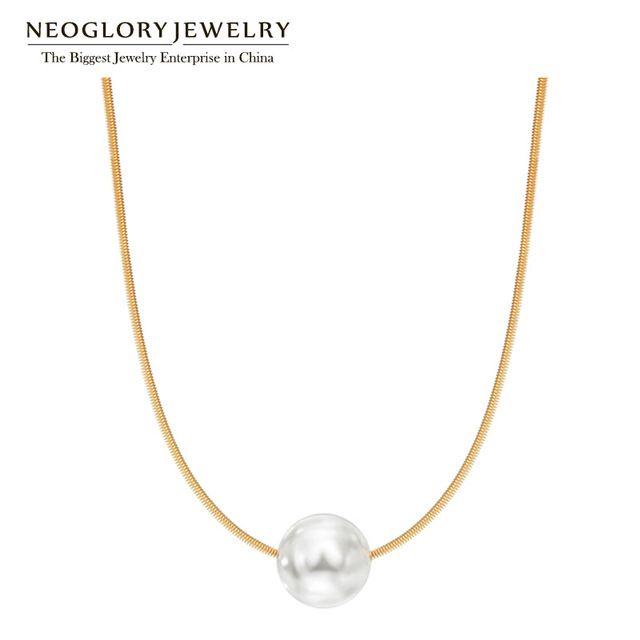 Neoglory Любовь Роуз Позолоченные Имитация Жемчужные Ожерелья Ювелирные Изделия Способа для Женщин Подруга 2017 Новые Подарки На День Рождения