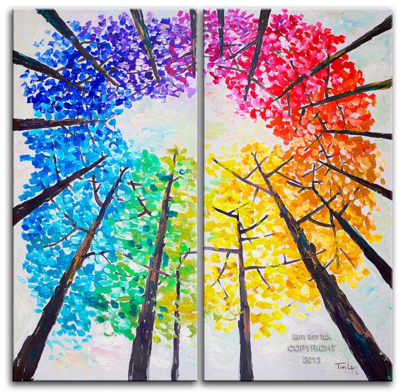 Original abstract tree art landscape painting looking up multi color forest on gallery wrap canvas