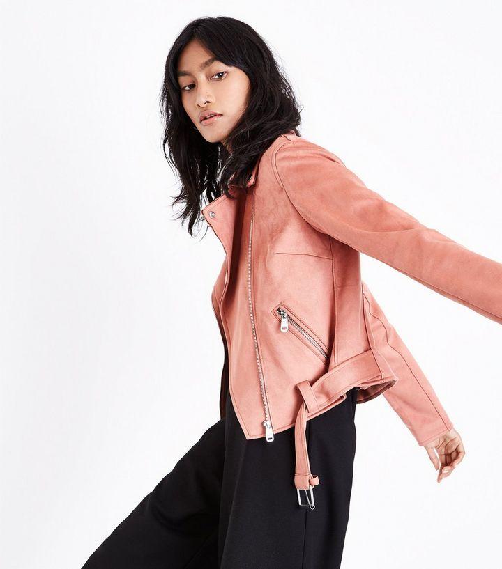 Coral Suedette Biker Jacket | New Look
