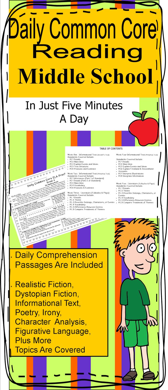 25 different, quick daily passages per bundle--Middle School Daily Common Core Practice in Five Minutes a Day~ (Quick, Short Passages Are Included) Informational Text, Literature, Realistic Fiction, Dystopian Fiction, And More! Inference, main idea, summarizing, figurative language, and point of view questions $