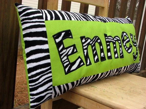 Personalized Name Pillow - Zebra print and Lime | Cute ...