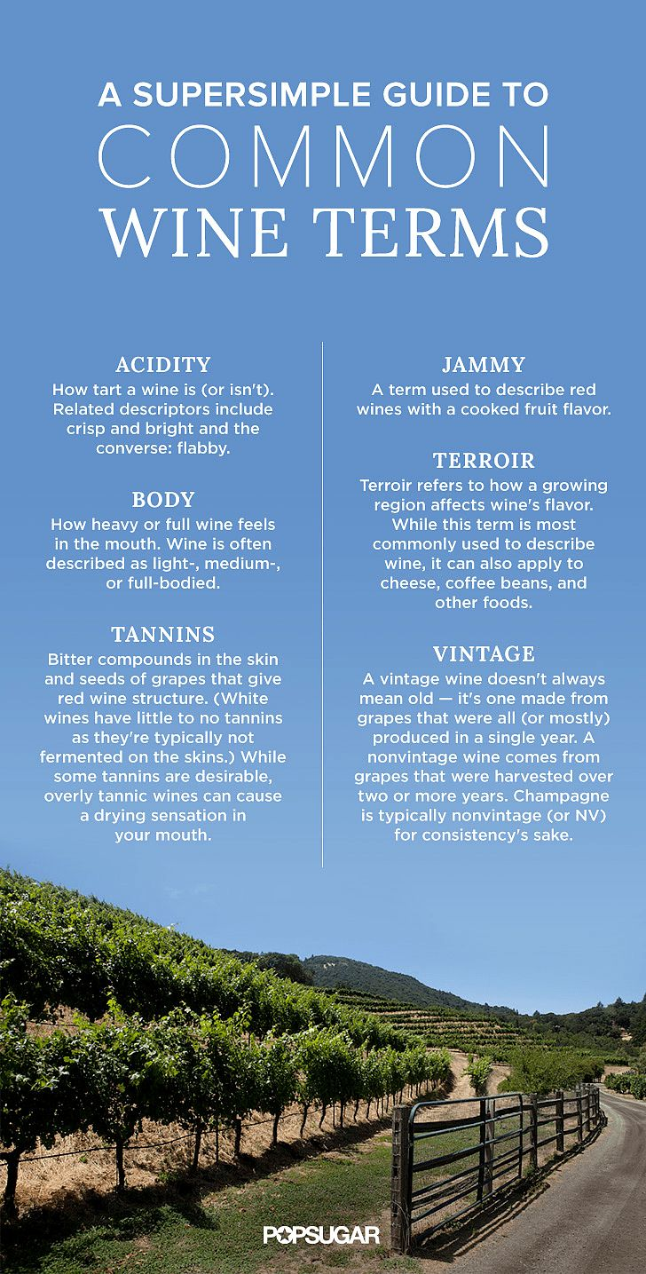 "Hearing words like ""tannins"" and ""oxidation"" may make you feel like you're back in chemistry class, but they're oh so important to the wines we enjoy on the regular. Don't let them intimidate you, though — getting familiar with wine's most common terms can be as easy as pouring a glass of red at the end of a long day. Brush up on these words, and you'll be moving past ""sweet"" and ""dry"" in no time so that when you go wine tasting again, you'll be the pro with all the insider knowledge."