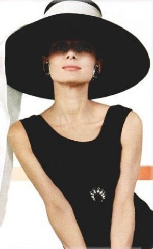 Audrey Hepburn. LOVE the hat and dress and of course Audrey!!!!!!!!!!!!!!!