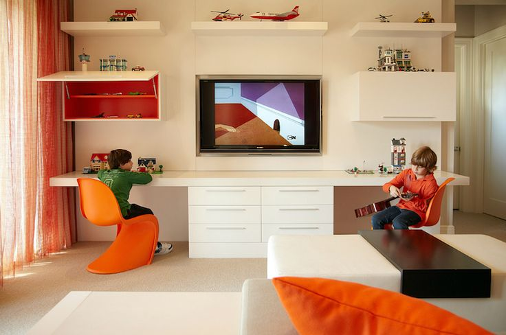 Suzie: B + G Design - Fantastic modern boys' playroom design with orange panton chairs, white ...