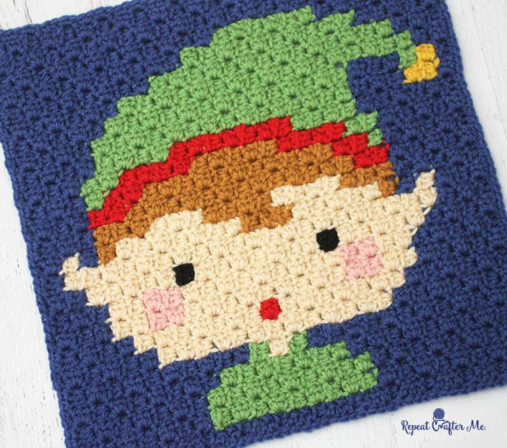Crochet Elf Pixel Square by Repeat Crafter Me. Crochet this fun pixel square on its own or as part of a Christmas Afghan! Make it with Vanna's Choice and a size F crochet hook!