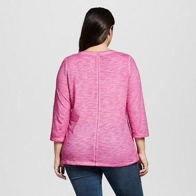 Women's Plus Size 3/4 Sleeve T-Shirt - Ava & Viv Tulip Pink 4X