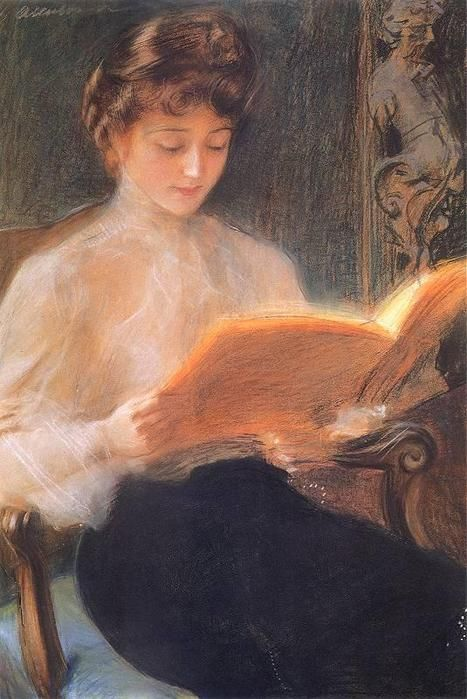 Woman Reading, 1899 Teodor Axentowicz.