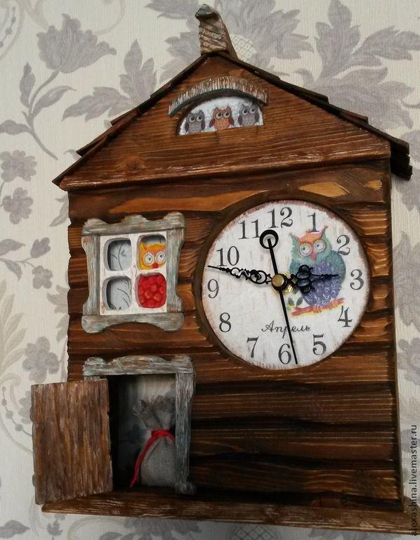 Купить Настенные часы с совами - коричневый, часы с совой, часы для детской, часы ручной работы