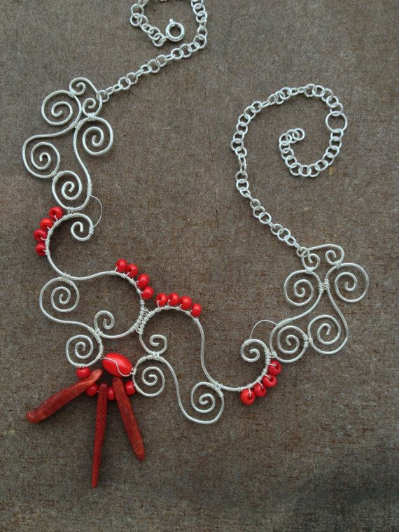 Silver wire. necklace. Coral. glas beads. by LaSolis on Etsy