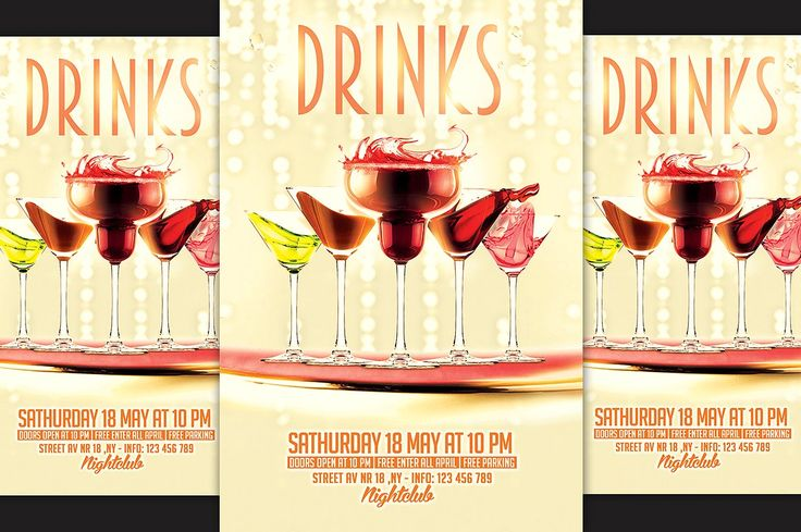 Drinks Party Flyer by ionescu_stefania on @creativemarket