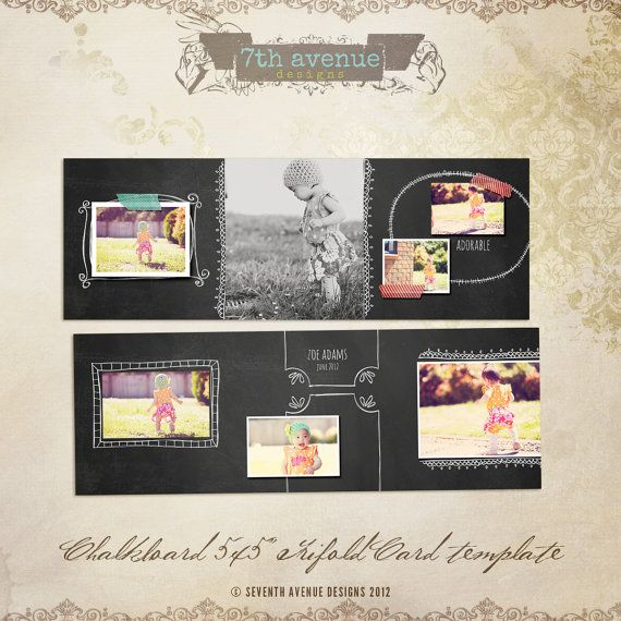Chalkboard 5x5 Trifold Card templates for por 7thavenuedesigns