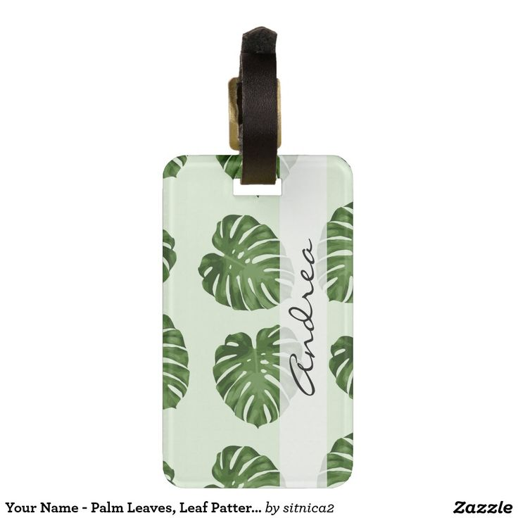 Your Name - Palm Leaves, Leaf Pattern - Green Bag Tags