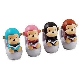 Solar Powered Closestool Monkey Nodding Toy (Random Color)