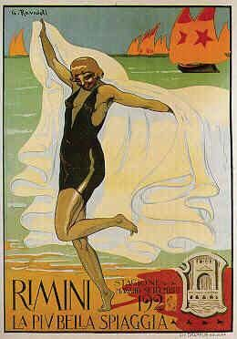 Rimini 1926  la danza della bagnante. Manifesto di Gino Ravaioli per la stagione 1926