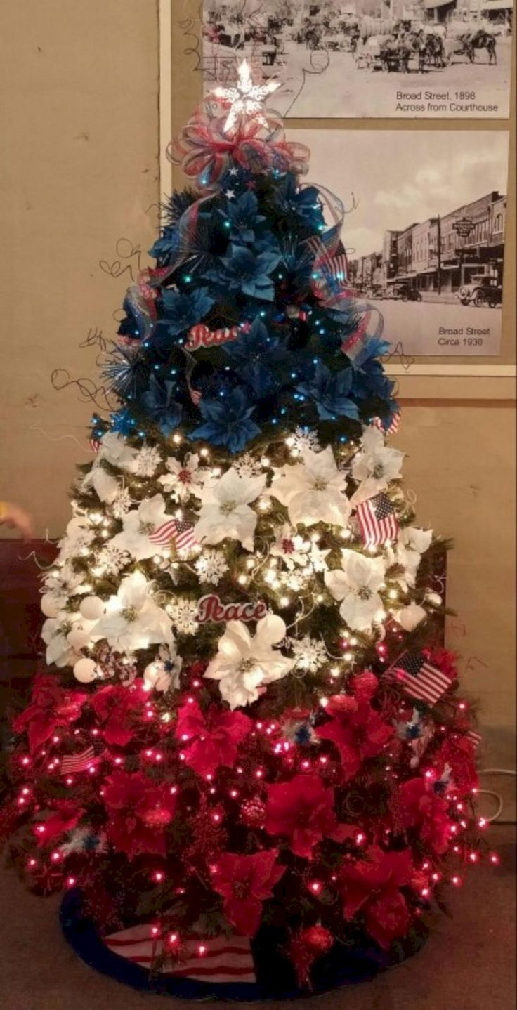 24 best christmas trees red white and blue images on - Decorative trees with red leaves amazing contrasts ...